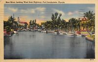 Fort Lauderdale Florida 1940 Postcard New River Looking West from Highway