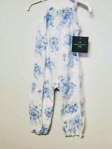 LAURA ASHLEY GIRLS BLUE FLORAL JUMPSUIT SIZE 6/9 MONTHS MSRP $19.00
