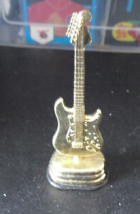 "Vintage 1980s Era Gold Tone Metal Guitar Shape Pencil Sharpener 4"" Tall"