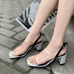 Womens Fashion Suede Leather Bowtie Block Heel Slingback Beach Sandals Shoes MON