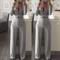 Women's V-Neck Long Sleeve Crop Top Knitted Wide Leg Pants Jumpsuit Rompers 2PCS