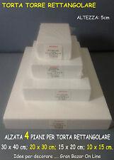 ALZATE TORTE FORME POLISTIROLO RETTANGOLARE 4 PIANI 5 cm / h CAKE DESIGN FESTA