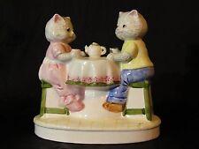 Vintage Ceramic Figurine Cats Tea Party YU C Stamp Crazing Teapot Damaged