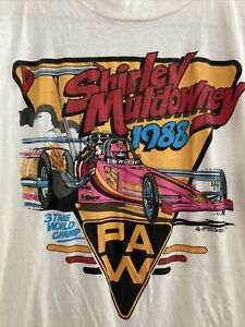 SHIRLEY MULDOWNEY VTG 1988 DRAG RACING 3 TIME WORLD CHAMP SHIRT ADULT M