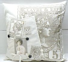 SALE Kissen Bezug creme m. Applikationen 50 x 50 cm LM31N Vintage  Claire & Elf