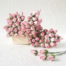 50x Light Pink Rose Mini Tiny Scrapbook Craft Mulberry Paper Flower Wedding Card
