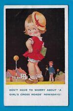 POSTCARD DONALD McGILL COMIC ARTIST UNSIGNED 100 CHILDREN ZEBRA CROSSING 1930s