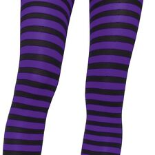 HALLOWEEN COSTUME PLUS SIZE 1X/2X OPAQUE STRIPE TIGHTS IN 4 COLOR SANTA WITCH