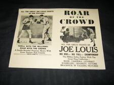 Original 1953 Roar Of The Crowd Joe Louis Film Broadside