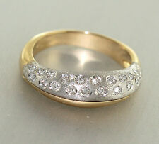 Massiver Goldring 585 Zweifarbengold + Brillanten 0,21ct. Brillantring Ring Gold