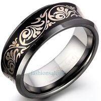8mm Concave Black Laser Etched Tungsten Carbide Men's Women's Ring Band Black