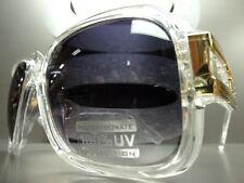 OVERSIZE CLASSIC RETRO VINTAGE Style SUN GLASSES Transparent Crystal Gold Frame
