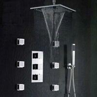 "Brass Thermostatic Shower System Rainfall & Waterfall 10"" Shower Head body Jets"