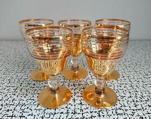 50s 60s Vintage Retro Kitsch Gold Stripe Sherry Port Liqueur Glasses Set 5 MCM