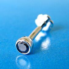 Labret Stud Piercing Ring Bone Screw 3mm Real Black Diamond Solitaire Nose Lip