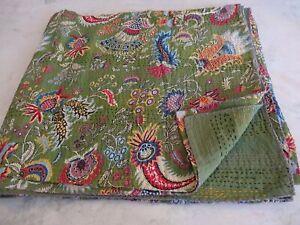 Twin Mukut Print Single Kantha Quilt Kantha Blanket Bed Cover Twin Kantha