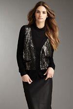 BCBG Max Azria Sweater S Cardigan V-Neck Black Wool Metallic Sequin Front Button