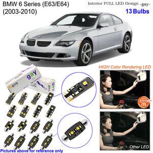 13 Bulb LED Interior Light Kit Xenon White Dome Light For 2003-2010 BMW 6 Series