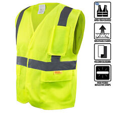 Class 2 High Visibility Safety Vest with Reflective Strips and Pockets -M8511/12
