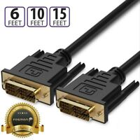 6 10 15FT HD Gold Plated DVI D 18+1 Single Link Video Monitor Projector Cable