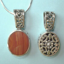 """Reversible Filigree Red Carnellian NEW STERLING SILVER .925 Pendant Chain 1"""" USA"""