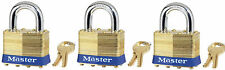 Lock Set by Master Brass 4KA (Lot of 3) Keyed Alike Matching Same Identical