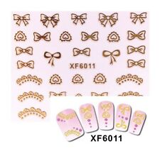 Bow Nail Art 3D Gold Lace Decoration Stickers Nails Hearts UK Jewelry YZW6011a