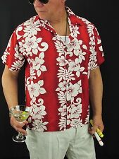 Hawaiian Aloha Shirt Blue Sky Apparel Red White Hibiscus Rayon Men's L,  H44