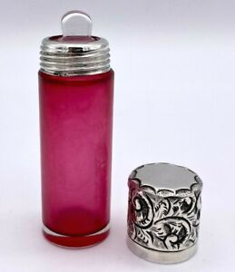 Silver Mounted Cranberry Scent Bottle by Sanders & Aquilar – 1900
