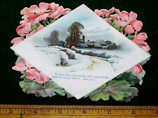 1880s Lovely Die Cut Flowers Winter Snow Scene Bible Quote Victorian Card #T