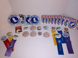 LARGE LOT DUCKS UNLIMITED HUNTING PIN BACK BUTTONS DECALS COUNCIL RIBBONS