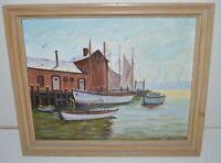 Nice Vintage Pier Sailboat Fishing Boats Nautical Original Painting RARE 23 X 18