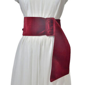 Retro Women's Faux Belt with Buckle Wide Suede Belt SG