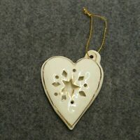 HANDMADE GOLD & CREAM CERAMIC HEART SHAPED W/STAR CHRISTMAS TREE ORNAMENT