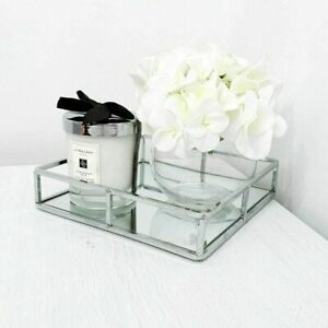20x20cm Square Mirror Tray Plate Candle Plate Metal Farme Mirror Decorative Tray