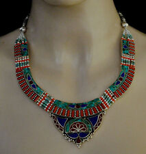 Asian Handmade Sterling Silver Necklace  jewelry Tibetan Ethnic Turquoise K11