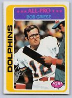 """1978  BOB GRIESE - Topps """"ALL PRO"""" Football Card - # 120 - MIAMI DOLPHINS"""