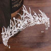 Bridal Wedding Crystal Flower Rattan Tiara Crown Rhinestone Hair Band Headband