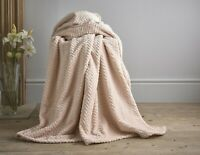 100% Polyester Supersoft Throw Blanket in Dusty Pink Herringbone Kimbolton