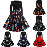 Women Vintage Long Sleeve O Neck Evening Dot Printing Party Prom Swing Dress AU