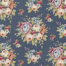 Tilda Fabric. Pardon My Garden. Garden Flowers in Dark Blue. cotton.  By the FQ