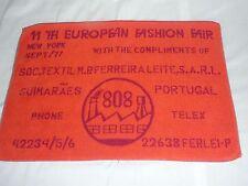 Vtg 1977 New York European Fashion Fair Towel Clothing Trade Show Advertising