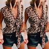 Women Leopard Print Top Summer V Neck Sleeveless T-Shirt Casual Loose Tee Blouse