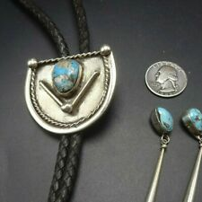 Vintage NAVAJO Sterling Silver NATURAL BLUE TURQUOISE Quartz Inclusions BOLO Tie