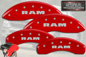 "2019-2021 ""Ram"" 1500 Front + Rear Red MGP Brake Disc Caliper Covers Standard 4pc"