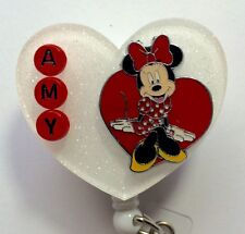 PERSONALIZED MINNIE IN A HEART OFFICE MEDICAL NURSE RN ID REEL BADGE HOLDER