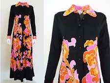 Mr Dino Psychedelic Maxi Dress Vintage 1970s