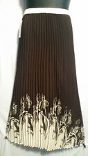 Women Clothing Long Skirt Elastic High Waist Pleated Brown Off White Free Size