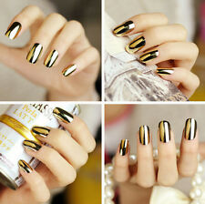 3D Shiny Gold Nail Wraps Art Decals Stickers Wedding Nails  #201b