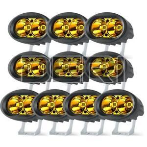 10X LED Yellow Spot Work Light Bar Pods Off Road Driving Fog Motorcycle ATV SUV